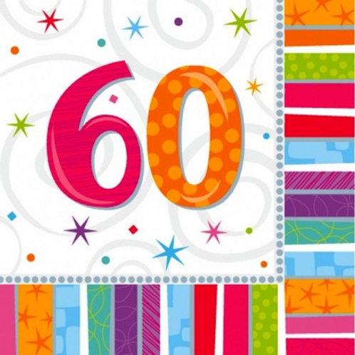 16 Serviettes Ages multicolores - 60 ans