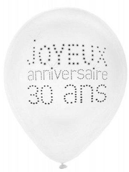 Ballons Latex x8 - 30 Ans