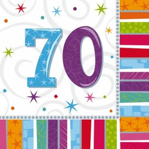 16 Serviettes Ages multicolores - 70 ans