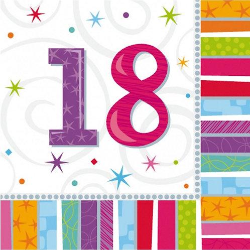 16 Serviettes Ages multicolores - 18 ans
