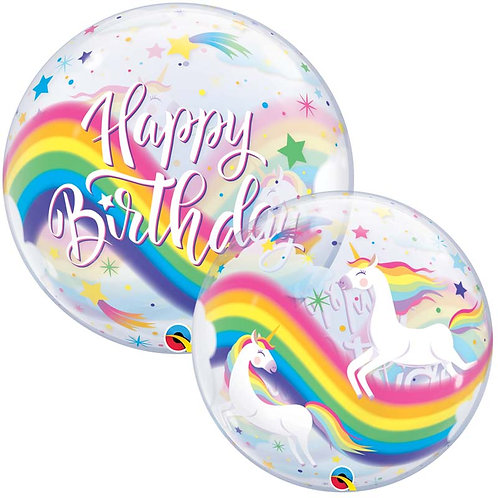 Ballon bubble tête Happy Birthday Licorne