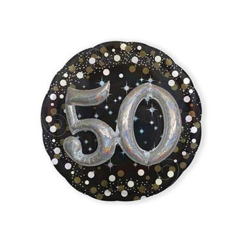 Ballon alu 50 ans 3D argenté