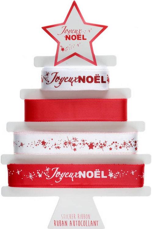 """4 Rubans """"Joyeux Noël"""" Métallisé autocollant - Rouge"""
