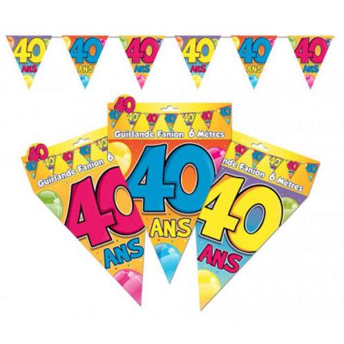 Fanions Multicolores - 40 Ans