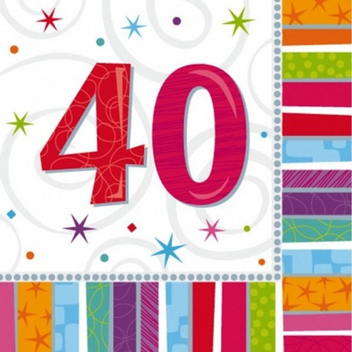16 Serviettes Ages multicolores - 40 ans