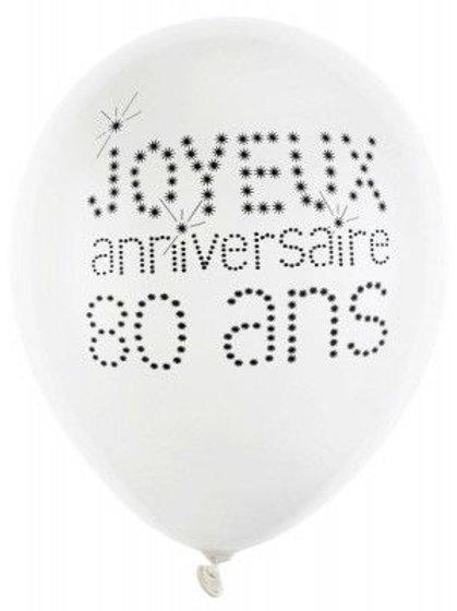 Ballons Latex x8 - 80 Ans