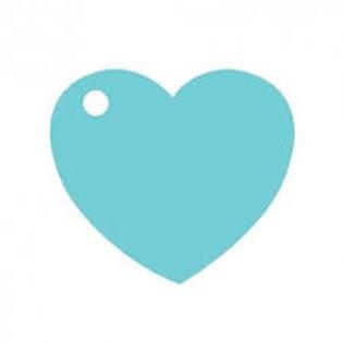 Etiquettes Coeur x50 - Bleu Turquoise