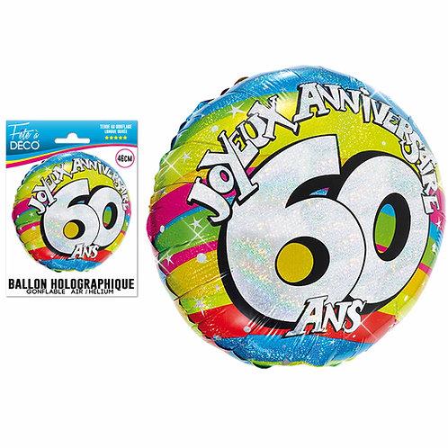 Ballon Alu Holographique - 60 Ans