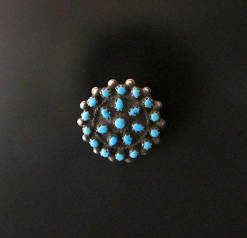 Lovely Zuni Silver & Turquoise Needlepoint Round Pin