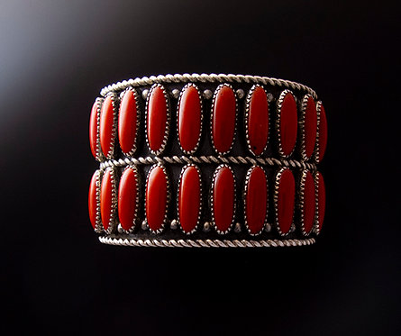 Navajo Mary Morgan Wide Silver and Coral Cuff