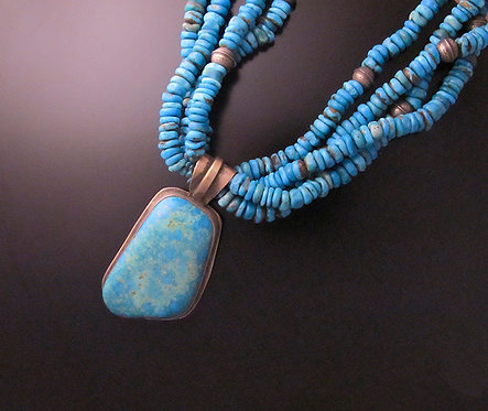 Sterling Silver & Turquoise Santo Domingo Necklace