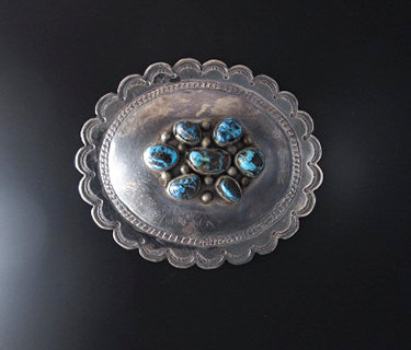 Sterling Silver Large Oval Belt Buckle with Turquoise