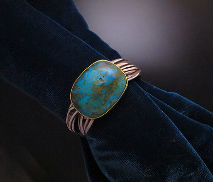 Gusterman's Silver, 14 K Gold & Turquoise String Cuff