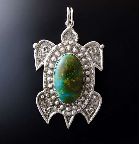 Sterling Silver & Turquoise Turtle Pendant