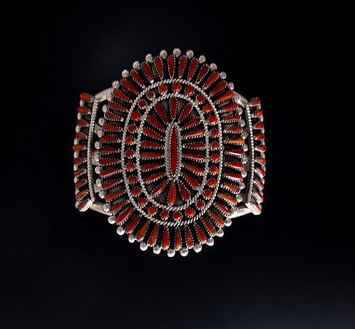 Vintage Zuni Silver and Coral Needlepoint Cuff