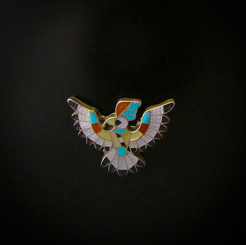Zuni Inlay Eagle Pin Pendant by Pablita Quam