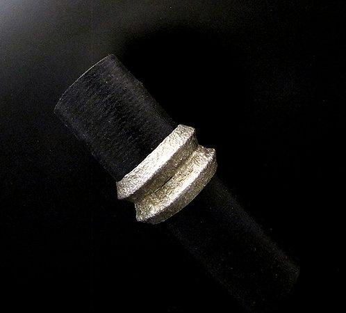 Navajo Shandiin Ashikii Wood Sterling Silver Tufa Cast Ring