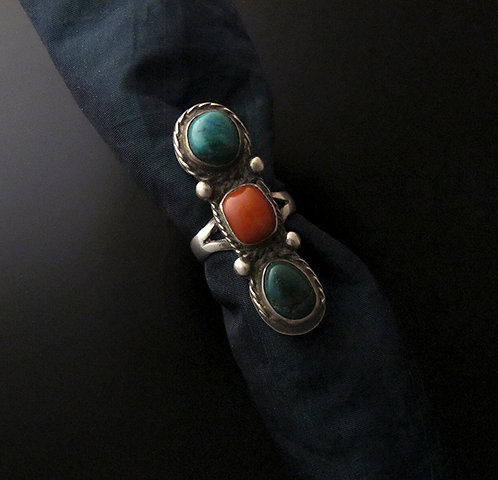 Vintage Sterling Silver, Turquoise, and Coral Ring