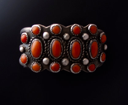 Navajo Sterling Silver and Coral Cuff