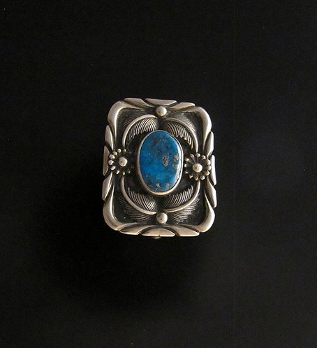 Native American Sterling Silver & Turquoise Pin Pendant