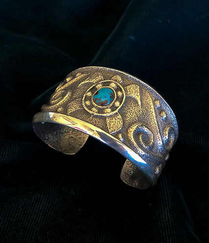 Monty Claw Navajo Silver and Turquoise Cuff