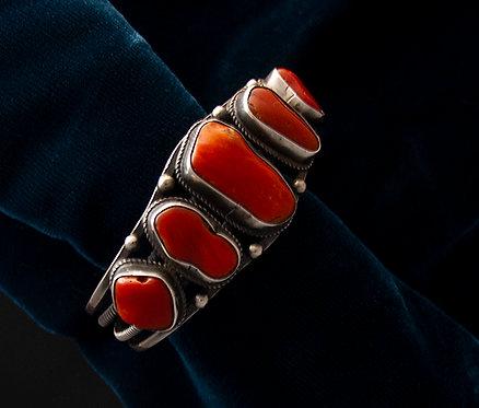 Navajo Silver and Coral Cuff