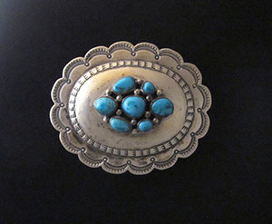 Oval Sterling Silver Fox Turquoise Belt Buckle