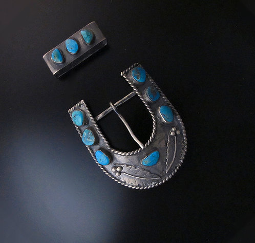 Sterling Silver & Turquoise Belt Buckle & Keeper Set