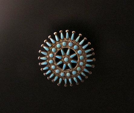 Zuni Silver & Turquoise Pin Pendant