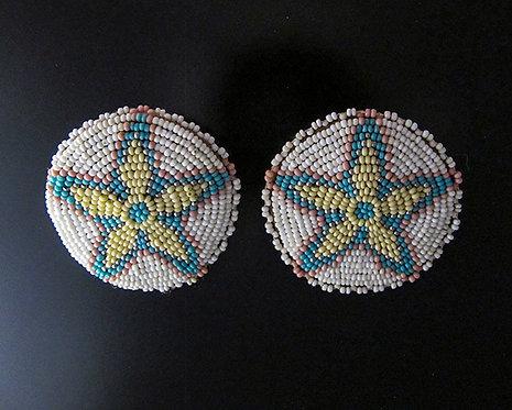 Pastel Round Beaded Star Earrings