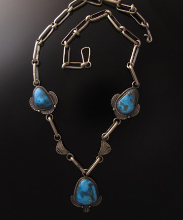 Navajo Sterling Silver Link Necklace with Three Turquoise Cabochons