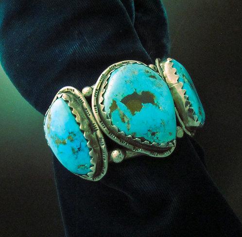 Navajo Silver & Chunky Turquoise Bracelet