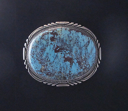 Large Sterling Silver and Turquoise  Belt Buckle