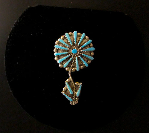 Zuni Silver and Turquoise Flower Pin