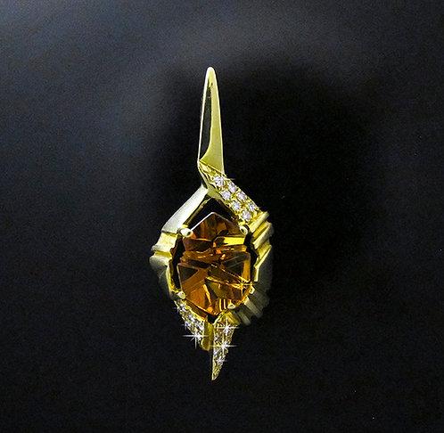 18 Karat Yellow Gold, Diamond & Munsteiner Cut Citrine Pendant