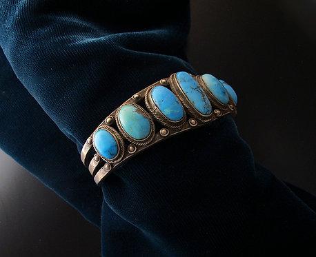 Men's Vintage Navajo Silver & Turquoise Bracelet