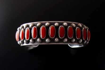 Navajo Silver and Multi Coral Cuff by Kenny Bracken