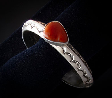 Navajo Sterling Silver and Coral Cuff by Able Arthur