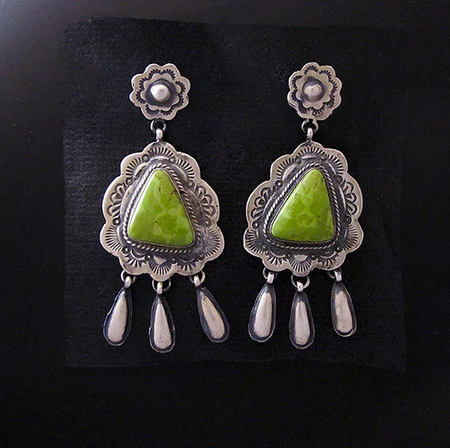 Navajo Natural Turquoise & Sterling Silver Earrings by Marcella James