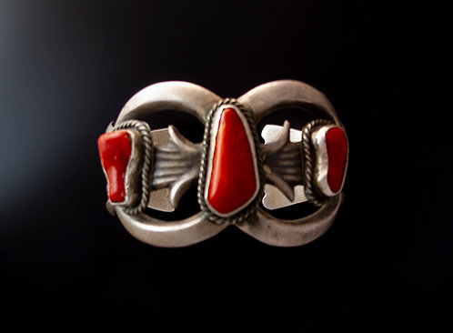 Sterling Silver and Coral Cabochon Cuff