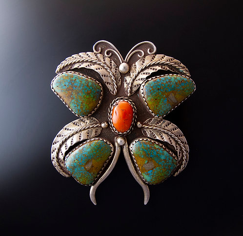 Sterling Silver Coral & Turquoise Butterfly Pendant