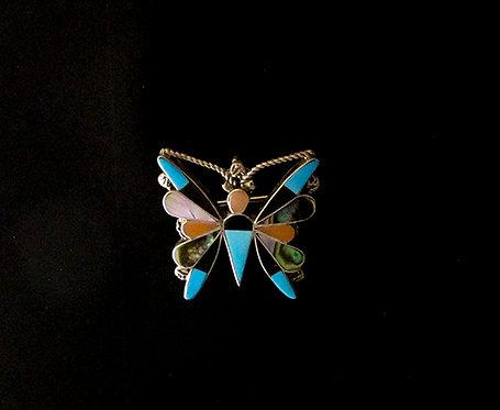 Beautiful Zuni Inlay Butterfly Pin Pendant