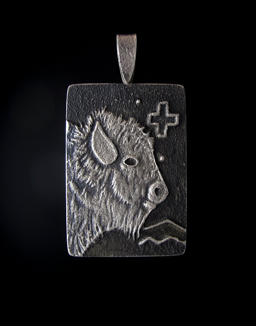 Sterling Silver Sandcast Buffalo Pendant by Monty Claw