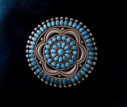 Large Silver and Turquoise Zuni Pin Pendant