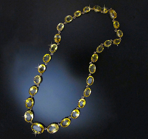 Sparkling Yellow Faceted Citrine Necklace, 10 Karat Gold