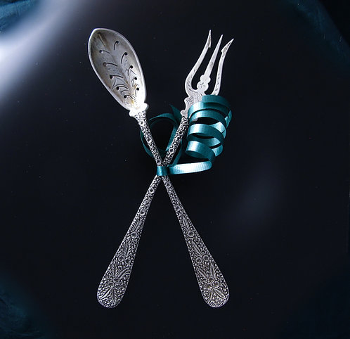 Textured Sterling Silver Spoon & Fork Set