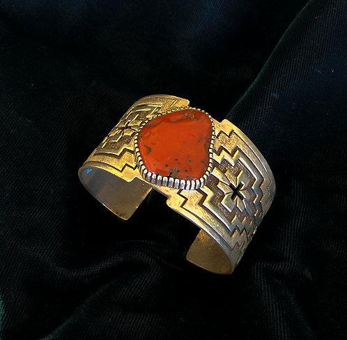 Navajo Tony Mitchell Silver and Coral Cuff