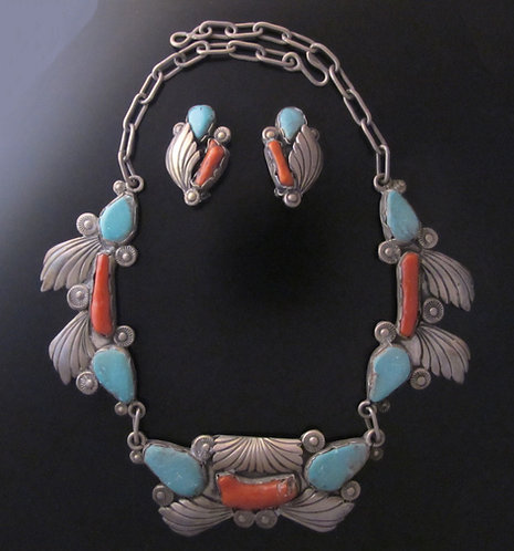 Zuni Sterling Silver Coral and Turquoise Necklace & Earring Set