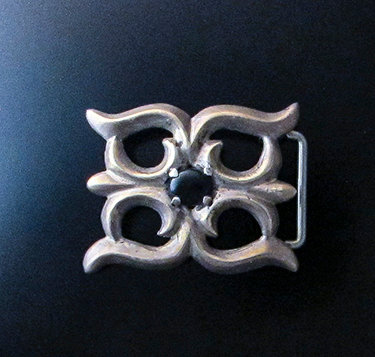 Sterling Silver Sandcast Buckle With Black Onyx Center Cab