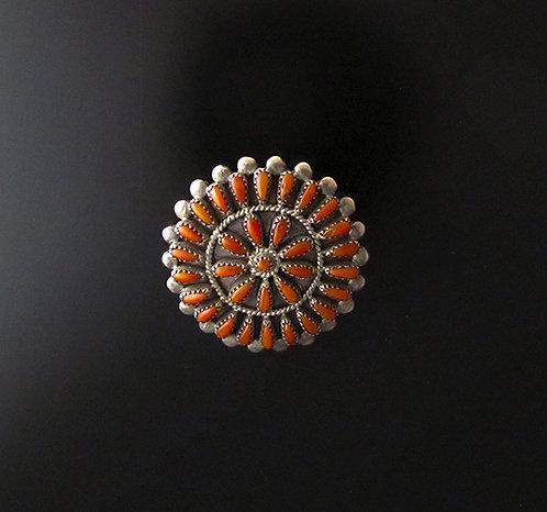 Zuni Silver & Coral Pin Pendant